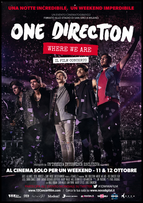 ONE DIRECTION , Where We Are – Il Film concerto l11 e 12 ottobre