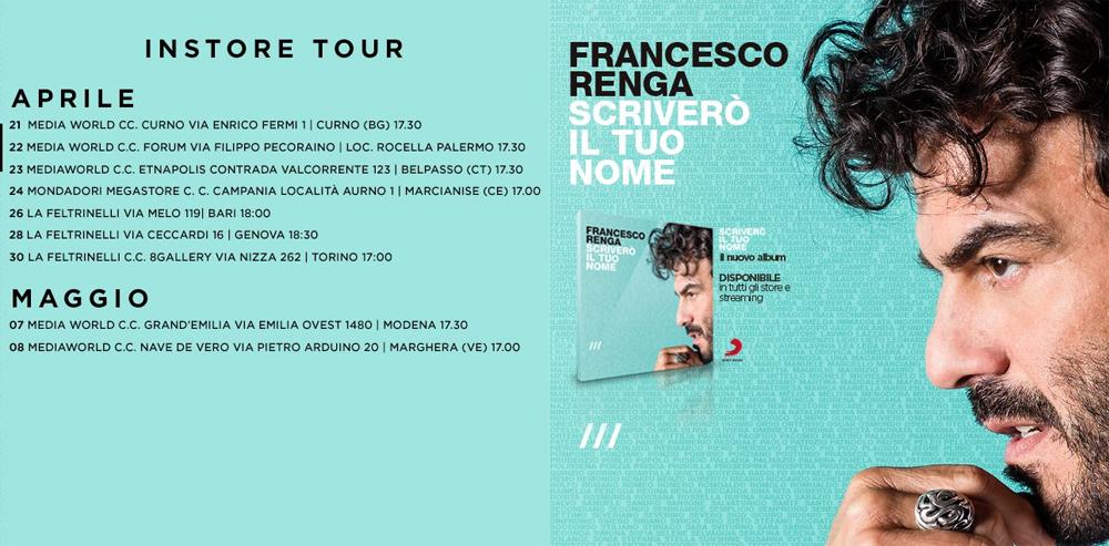 FRANCESCO RENGA n1 Itunes Top Album con SCRIVERO IL TUO NOME